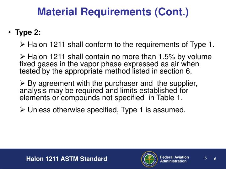 Material Requirements (Cont.)