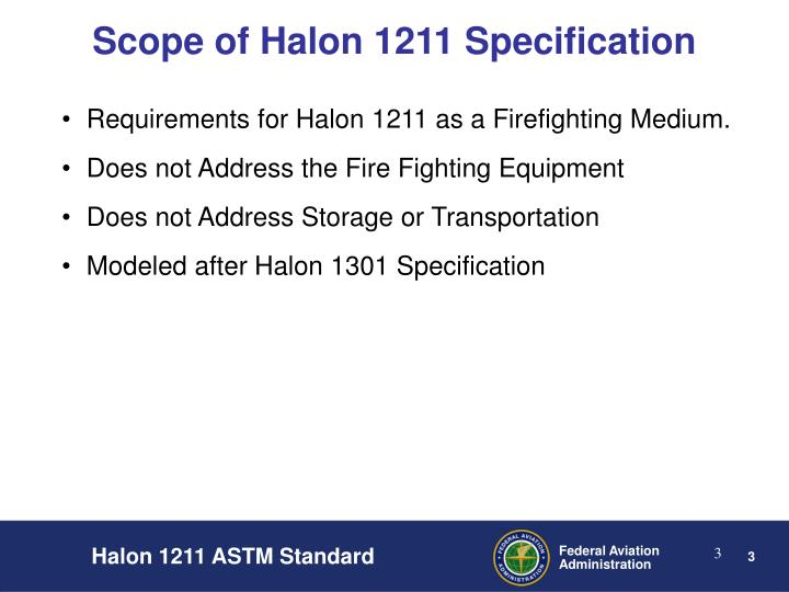 Scope of halon 1211 specification