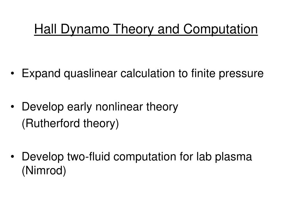 Hall Dynamo Theory and Computation