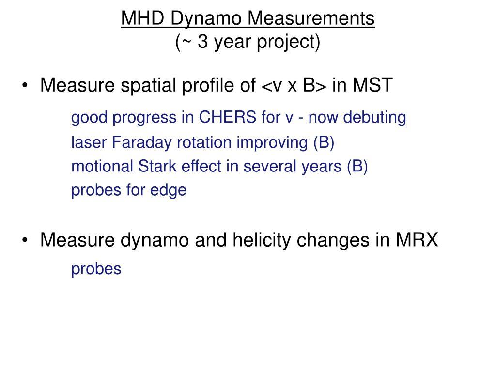 MHD Dynamo Measurements