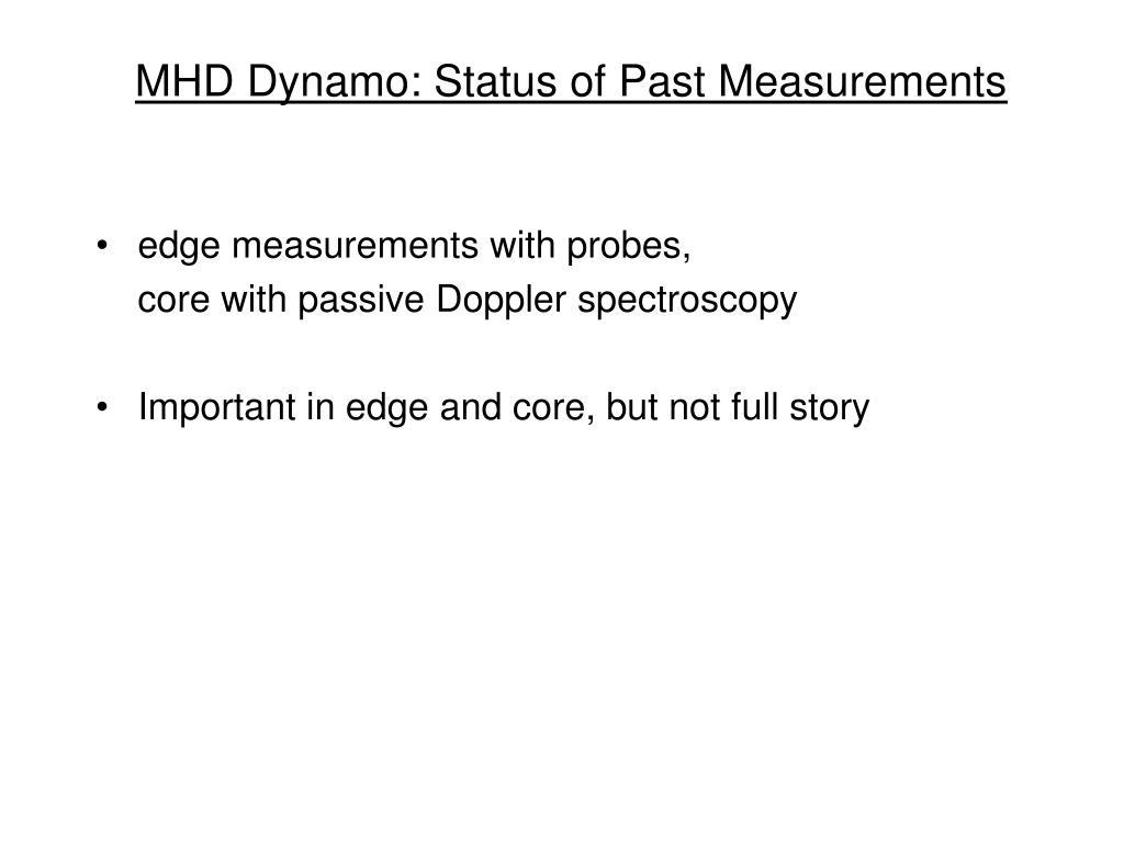 MHD Dynamo: Status of Past Measurements