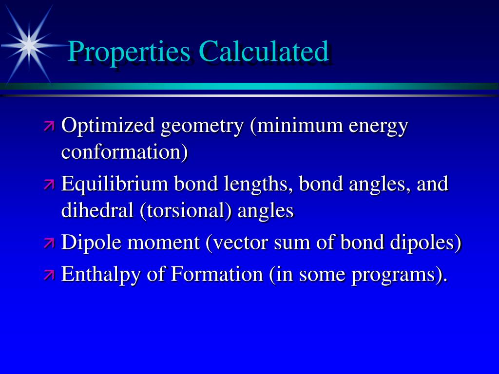 Properties Calculated