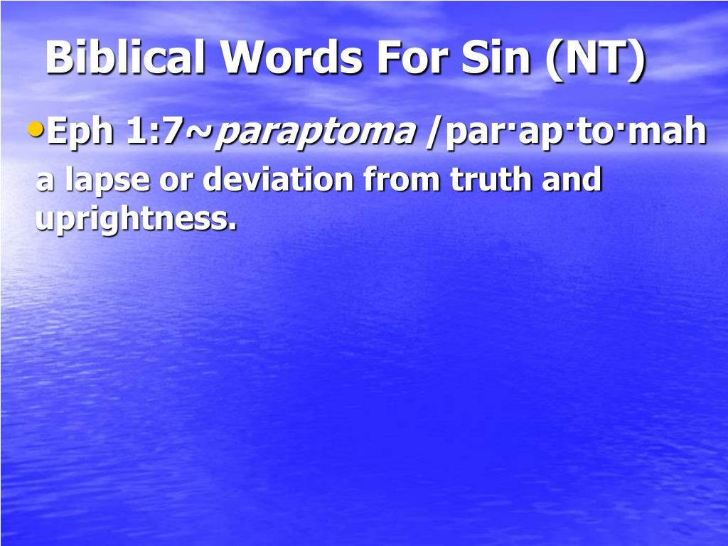 Biblical Words For Sin (NT)