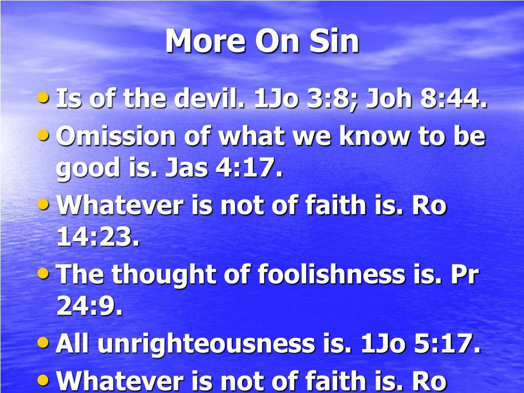 More On Sin