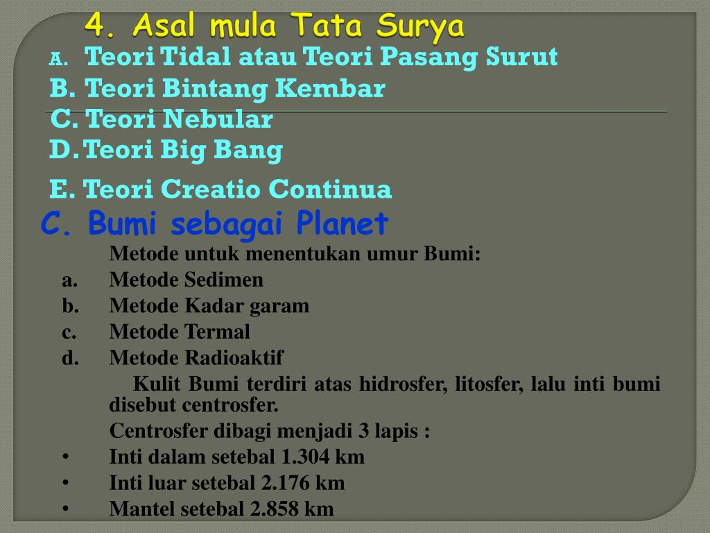 4. Asal mula Tata Surya