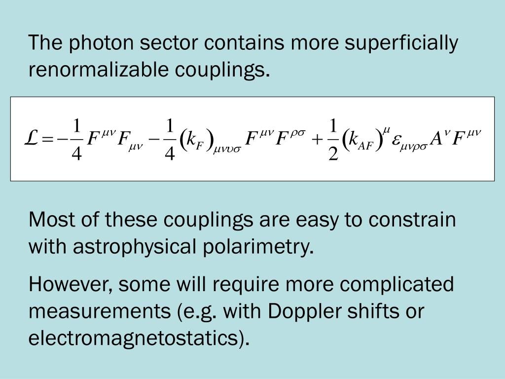 The photon sector contains more superficially renormalizable couplings.