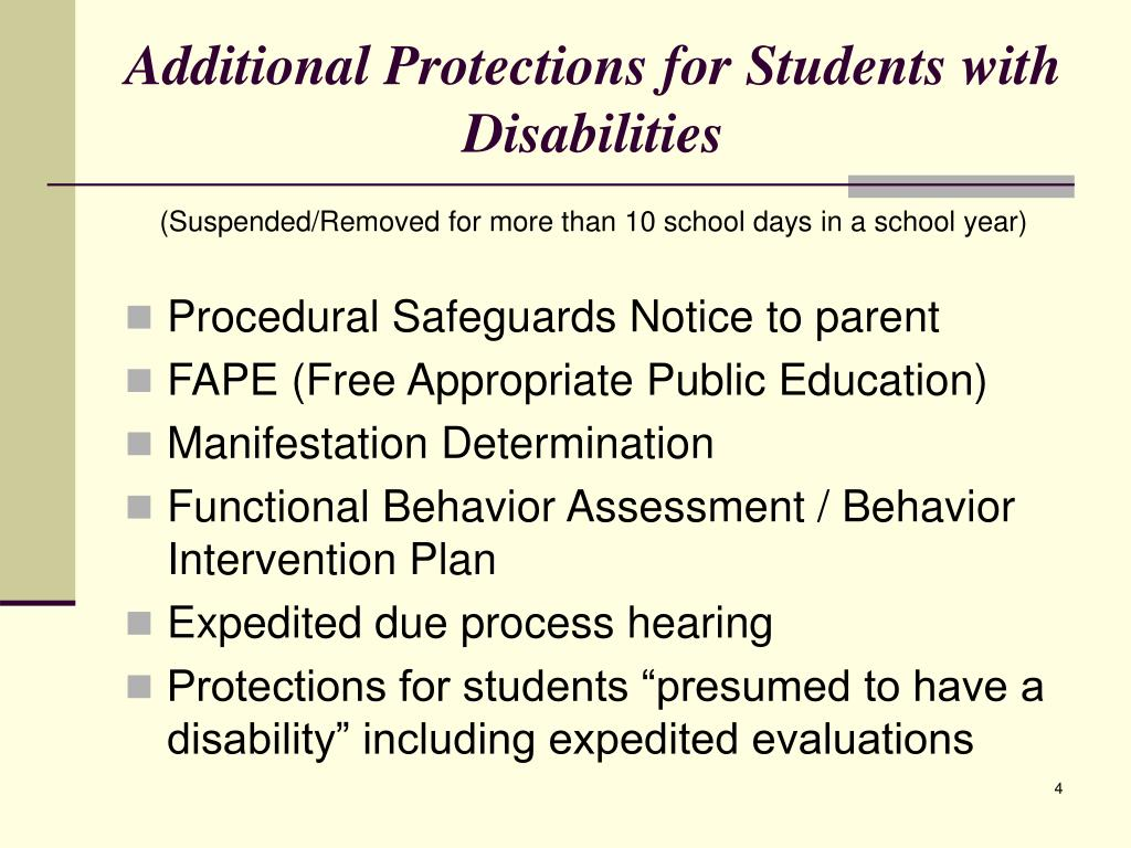 Additional Protections for Students with Disabilities