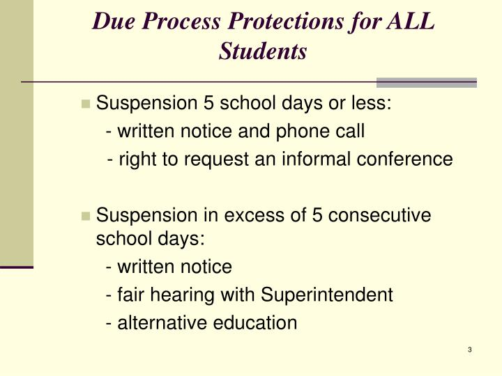 Due process protections for all students