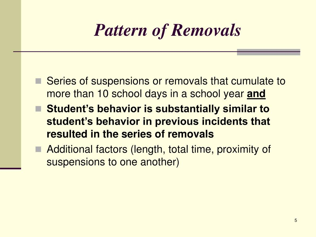 Pattern of Removals