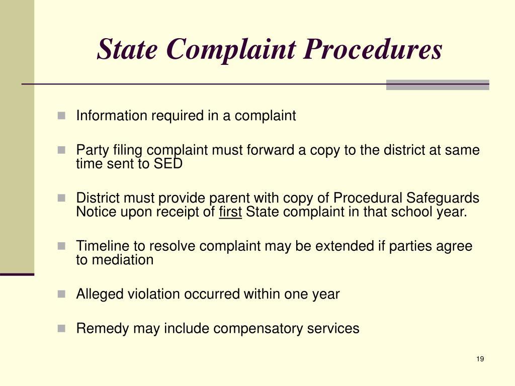 State Complaint Procedures