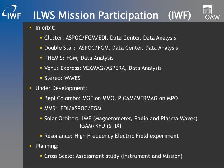 Ilws mission participation iwf