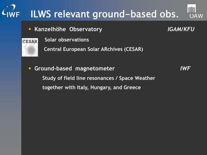 ILWS relevant ground-based obs.