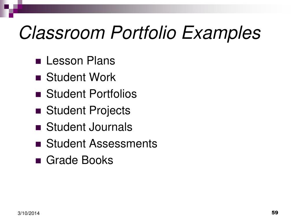Classroom Portfolio Examples