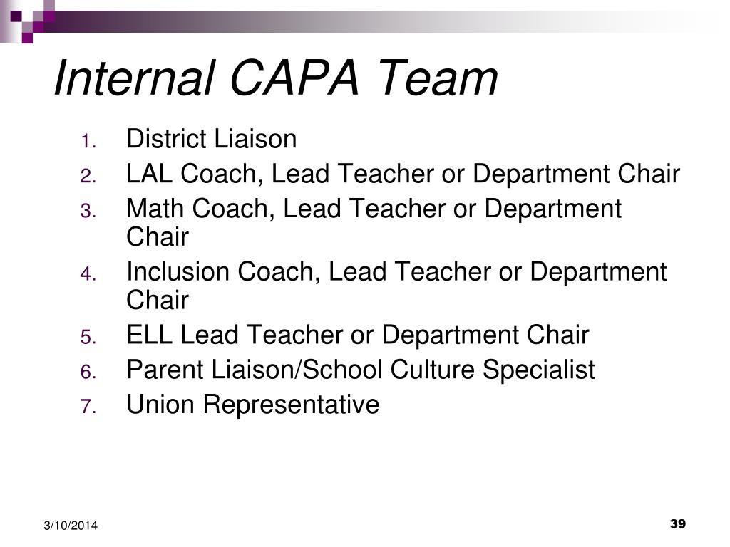 Internal CAPA Team
