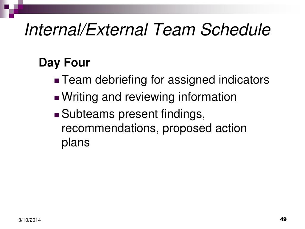 Internal/External Team Schedule