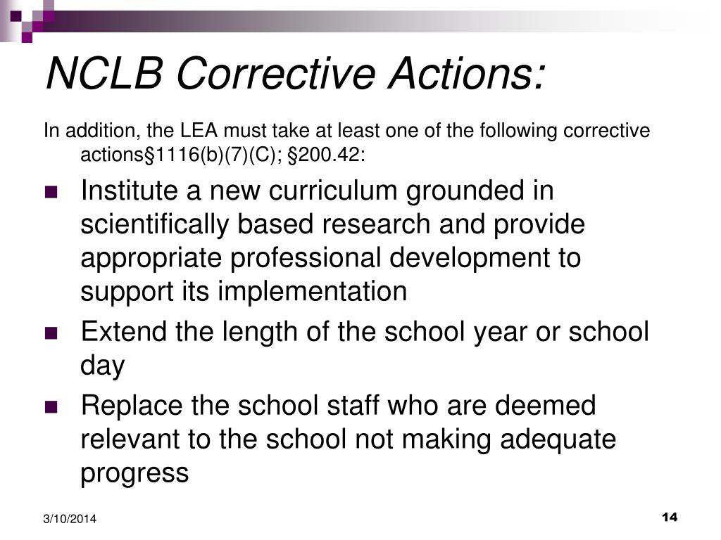 NCLB Corrective Actions: