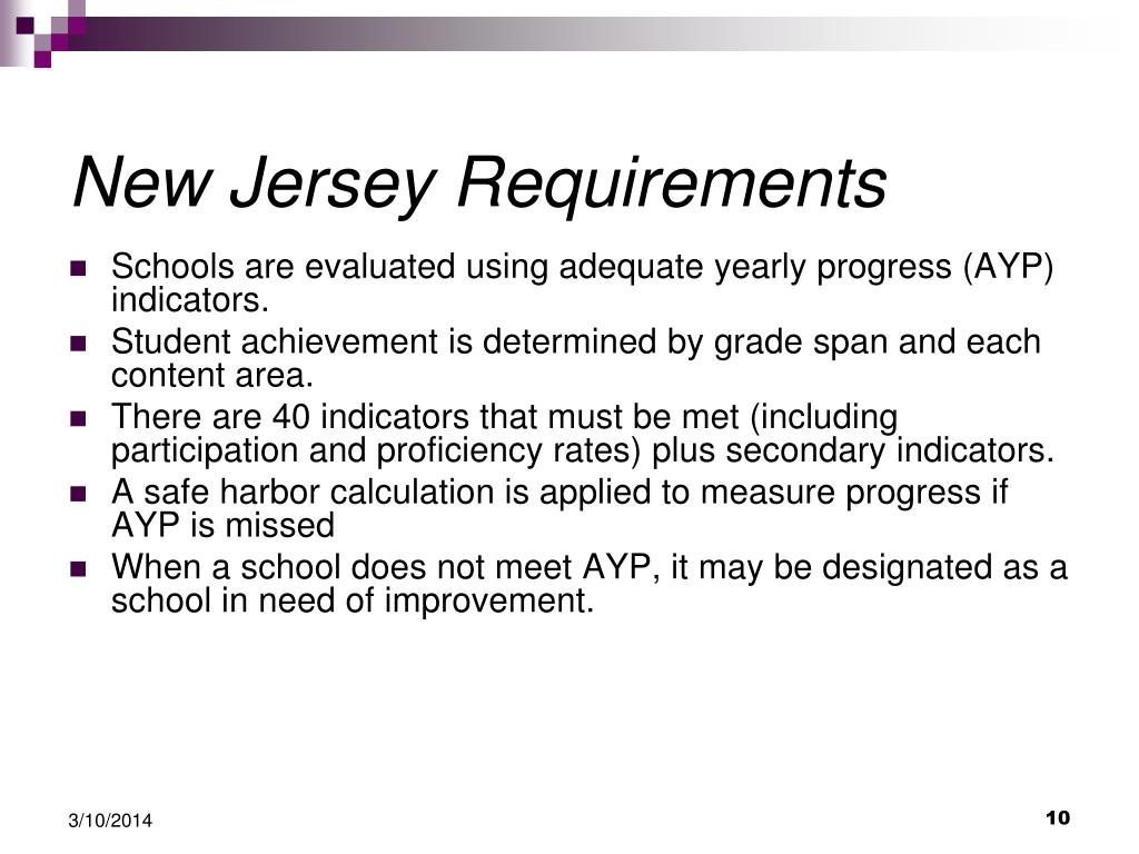New Jersey Requirements