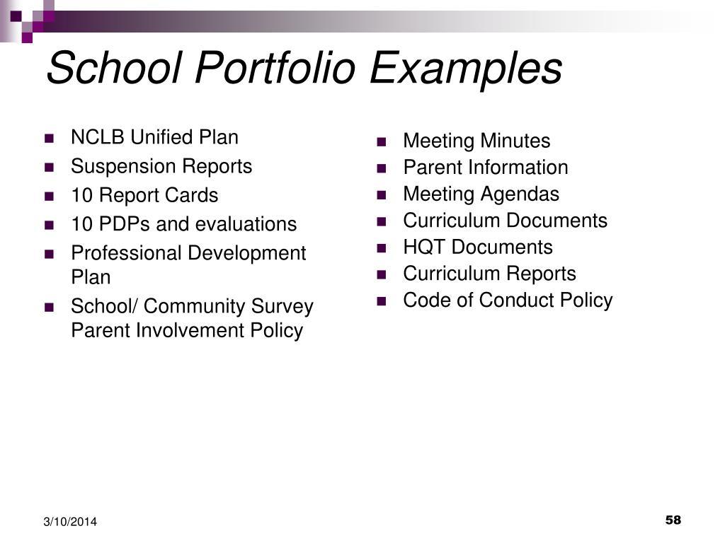 School Portfolio Examples