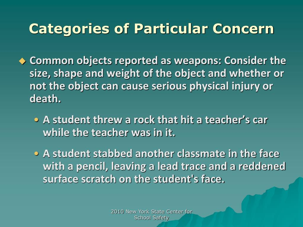 Categories of Particular Concern