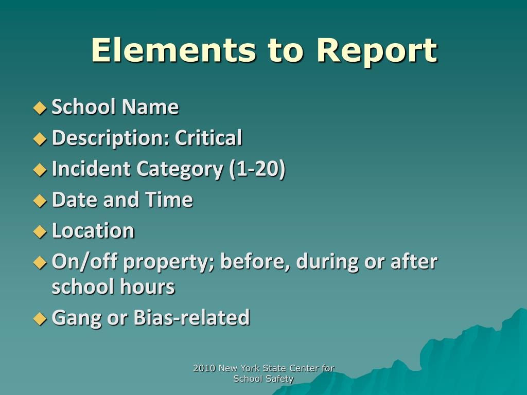 Elements to Report