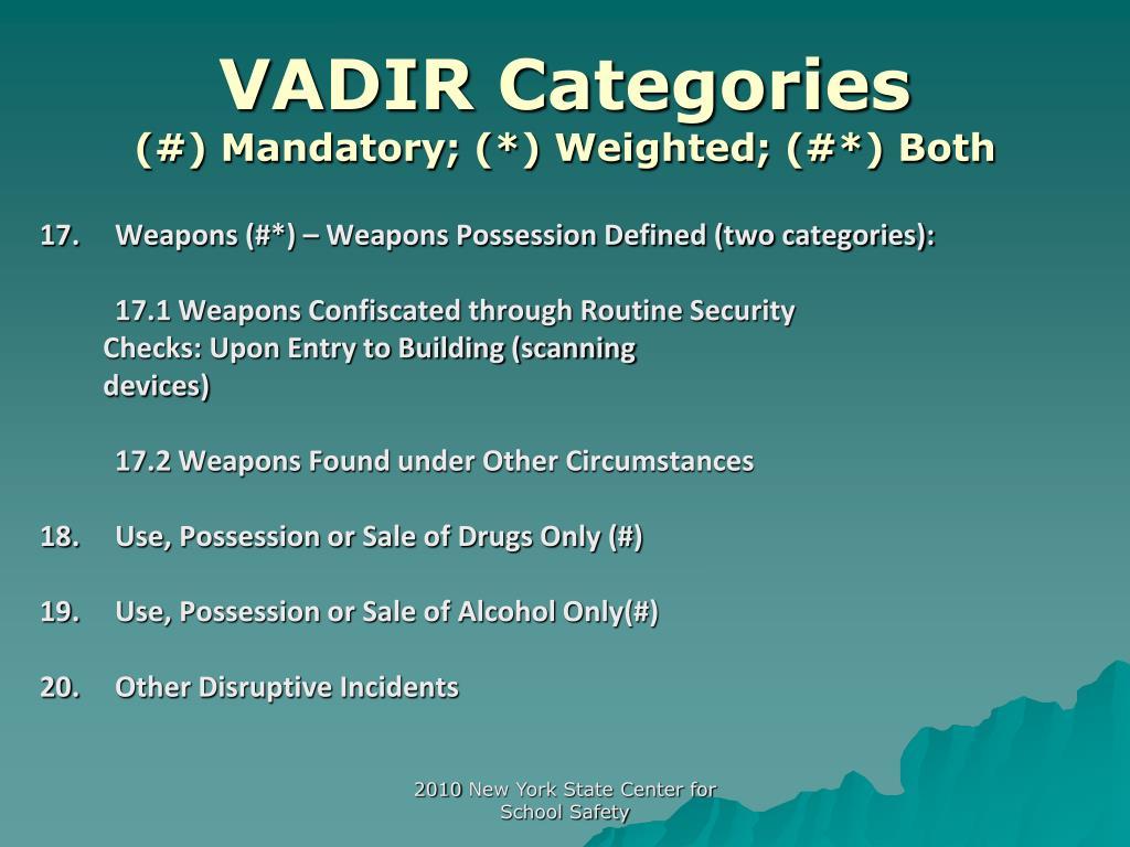 VADIR Categories