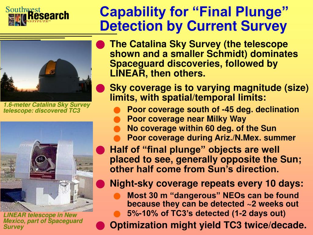 "Capability for ""Final Plunge"" Detection by Current Survey"