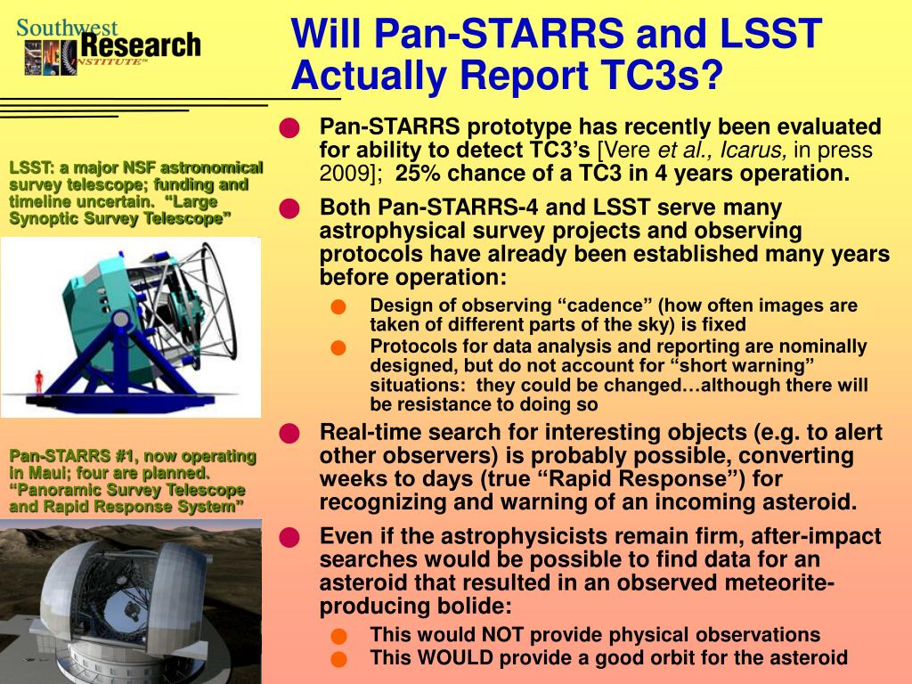 Will Pan-STARRS and LSST Actually Report TC3s?