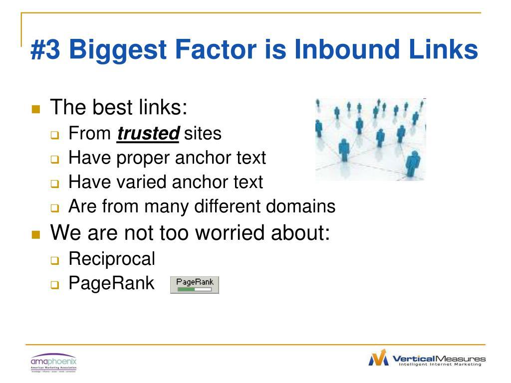 #3 Biggest Factor is Inbound Links