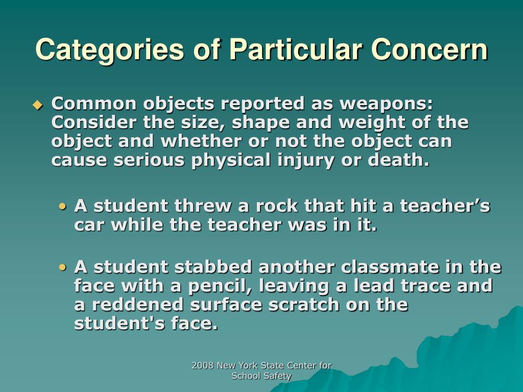 Categories of Particular Concern