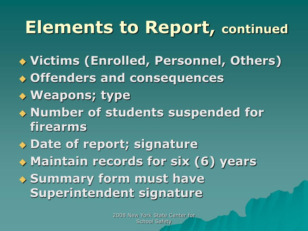 Elements to Report,