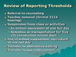 review of reporting thresholds