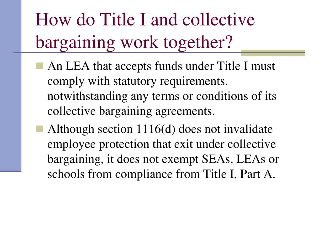 How do Title I and collective bargaining work together?