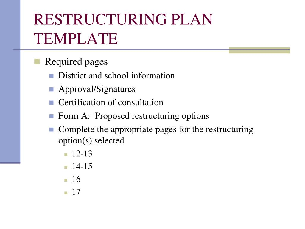 RESTRUCTURING PLAN TEMPLATE