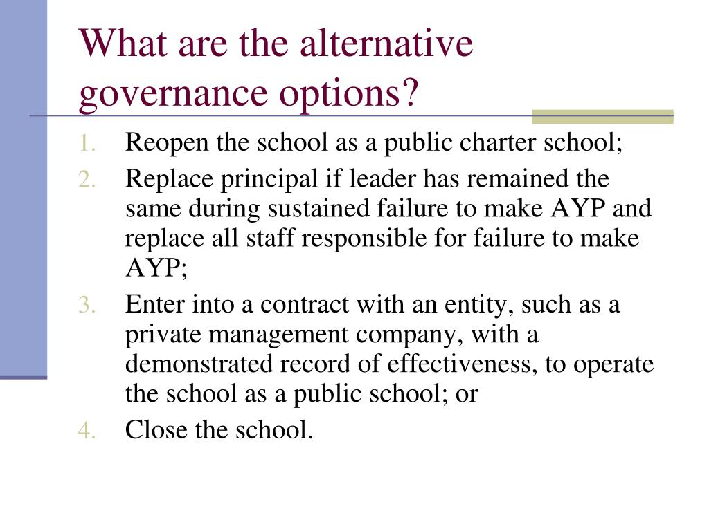 What are the alternative governance options?