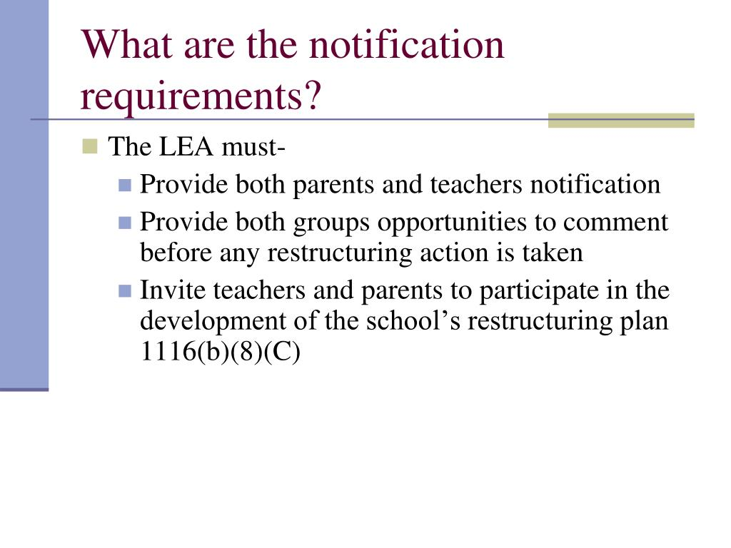 What are the notification requirements?