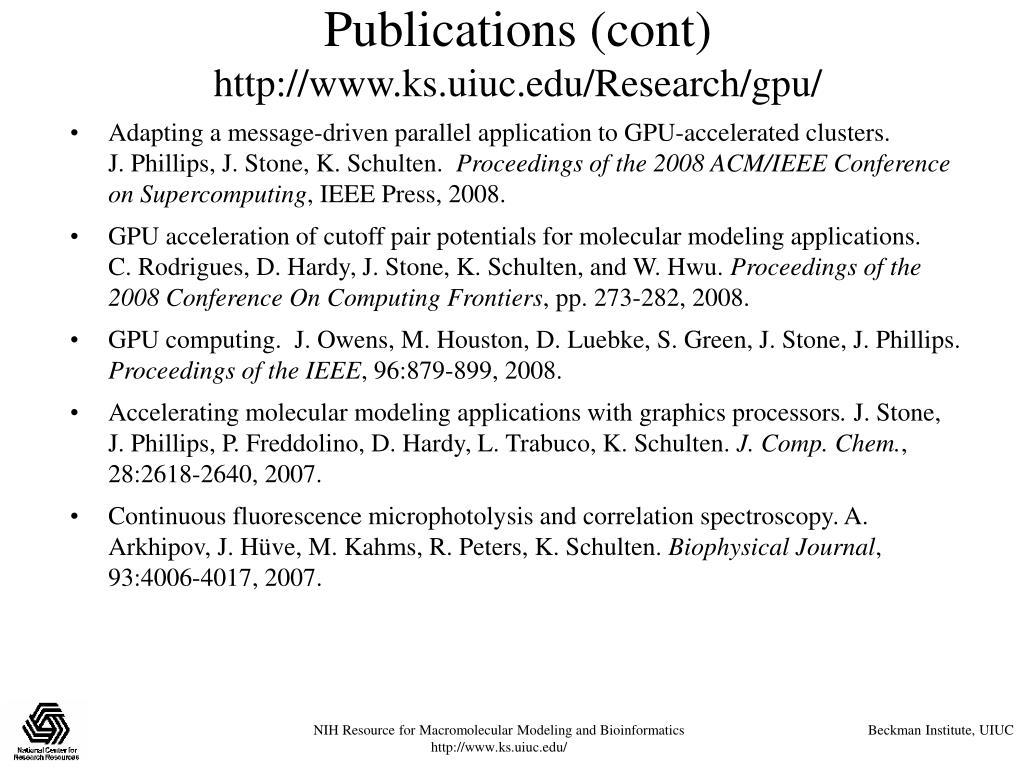 Publications (cont)