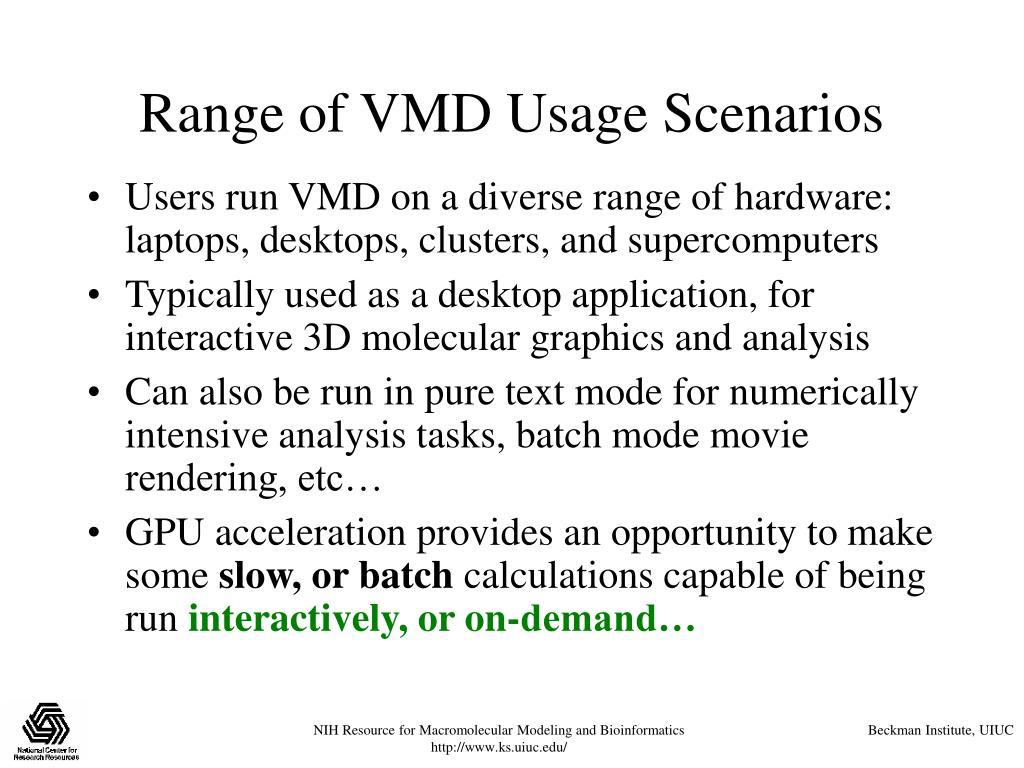 Range of VMD Usage Scenarios