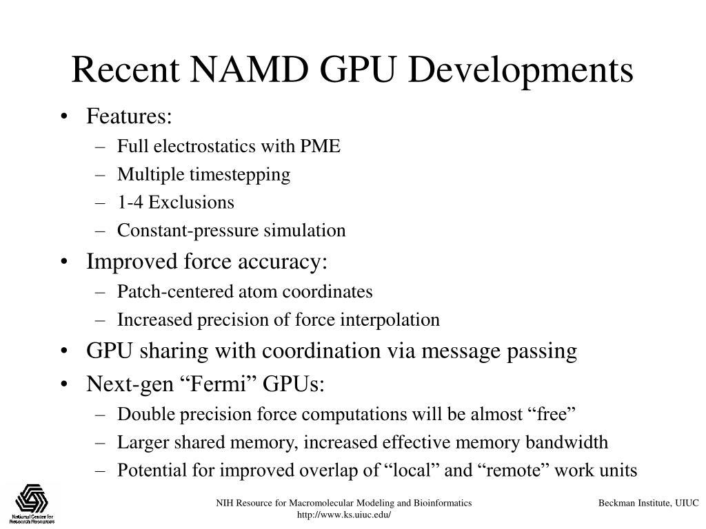 Recent NAMD GPU Developments