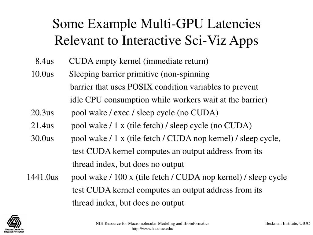 Some Example Multi-GPU Latencies Relevant to Interactive Sci-Viz Apps