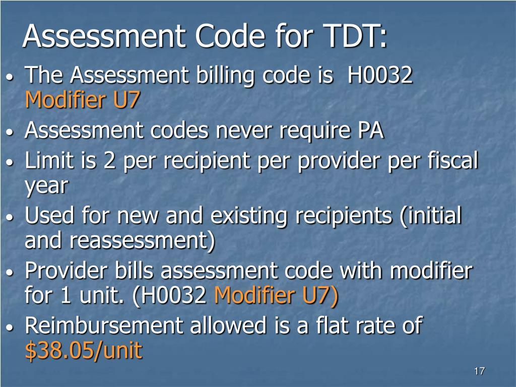 Assessment Code for TDT: