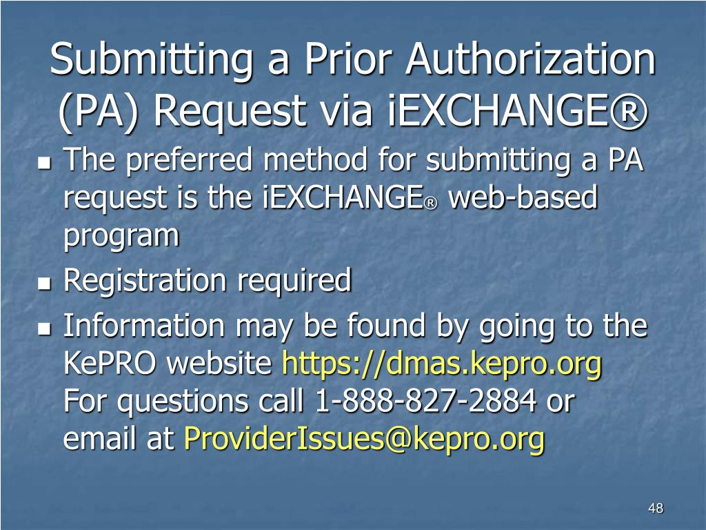 Submitting a Prior Authorization (PA) Request via iEXCHANGE®