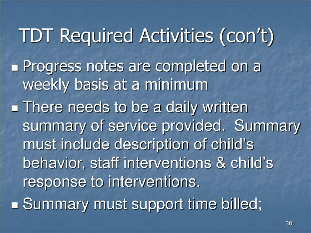 TDT Required Activities (con't)