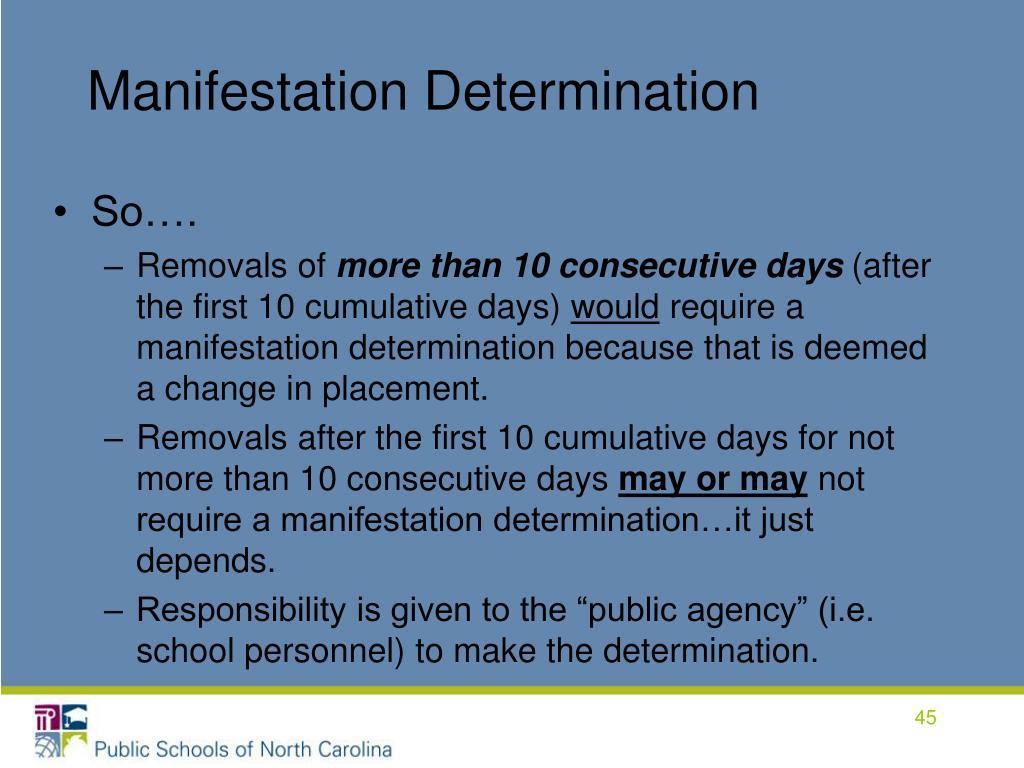 Manifestation Determination
