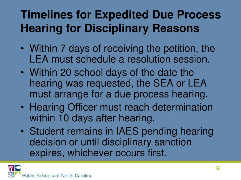 Timelines for Expedited Due Process Hearing for Disciplinary Reasons