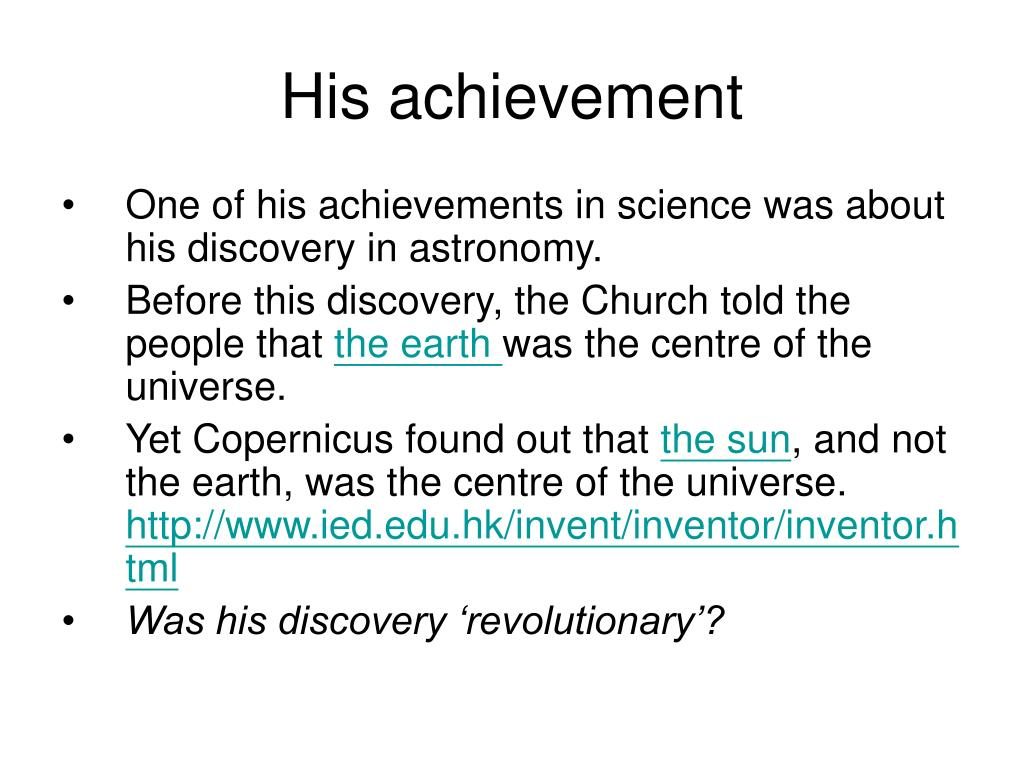 His achievement
