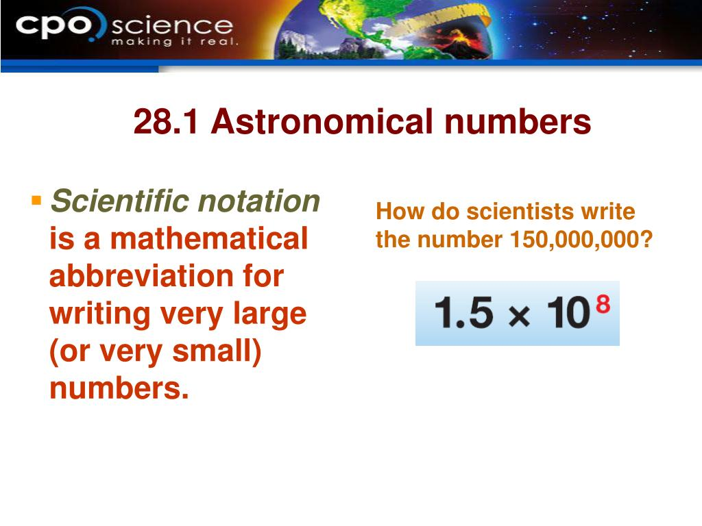 28.1 Astronomical numbers