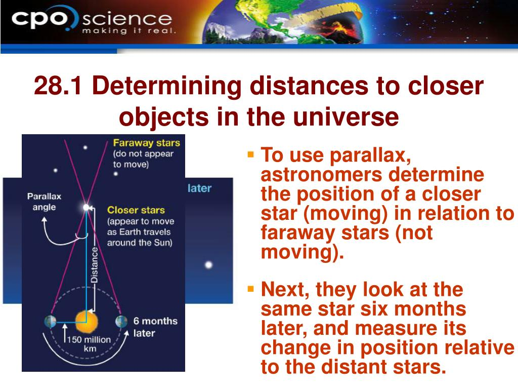 28.1 Determining distances to closer objects in the universe