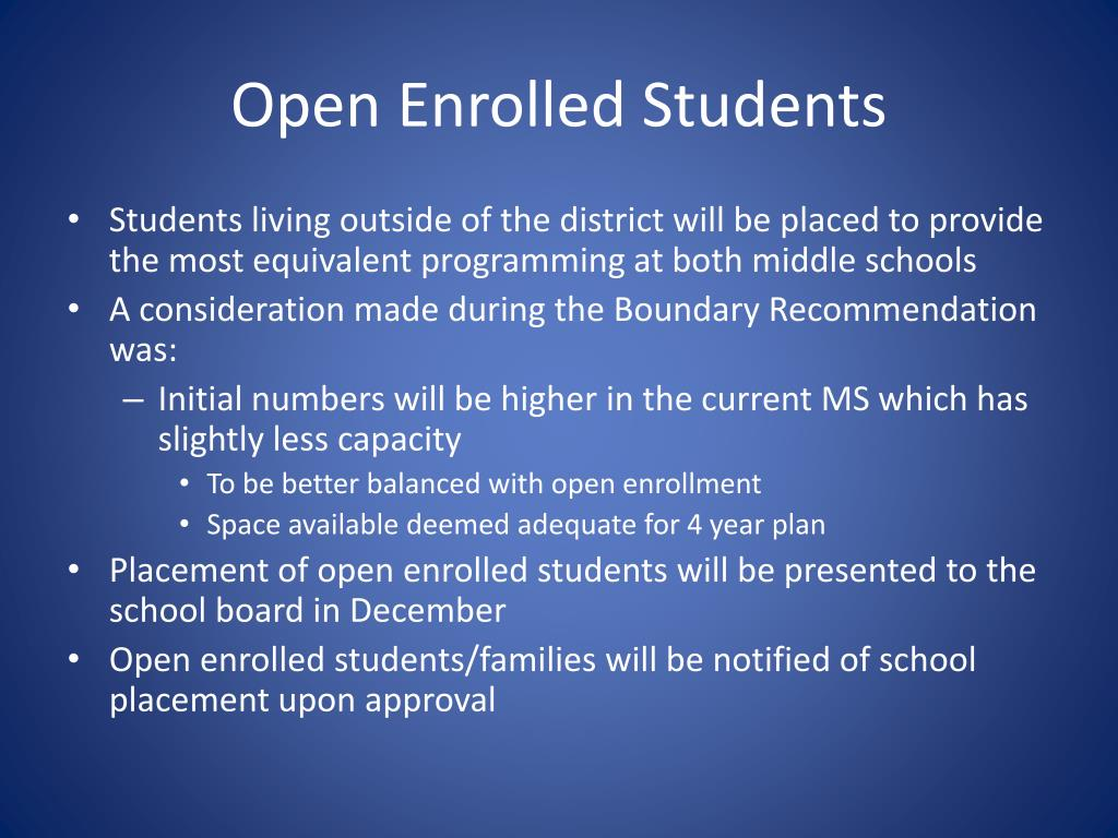Open Enrolled Students