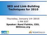 seo and link building techniques for 20101