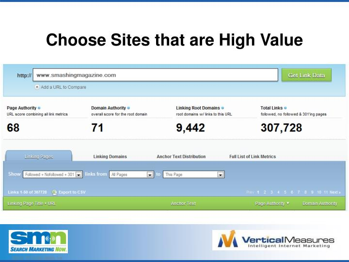 Choose Sites that are High Value